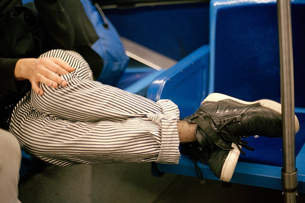 Dan wearing fishnets under is pants,Brooklyn, NY