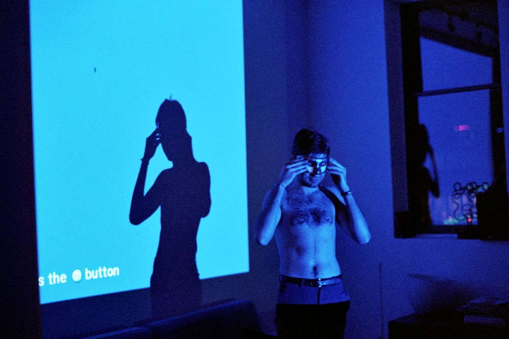 Denis in the blue light, Brooklyn, NY