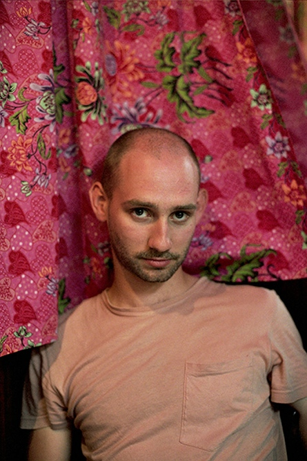 Collin infront of a pink curtain, New York, NY