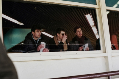 Peter, Charlie, and Malcolm at the race track, Queens, NY