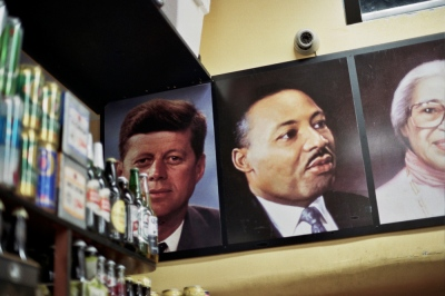 Portraits of great Americans in the grocery store,Brooklyn, NY