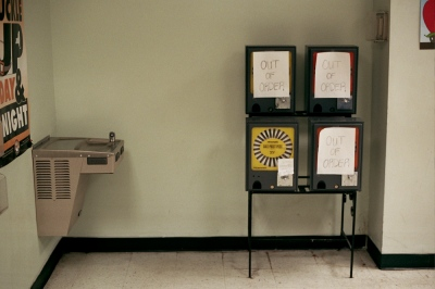 Pen dispensers at the DMV, Brooklyn, NY