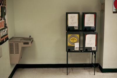 Pen dispensers at the DMV,Brooklyn, NY