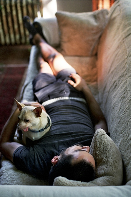 Bob asleep with a Chihuahua, Upstate New York