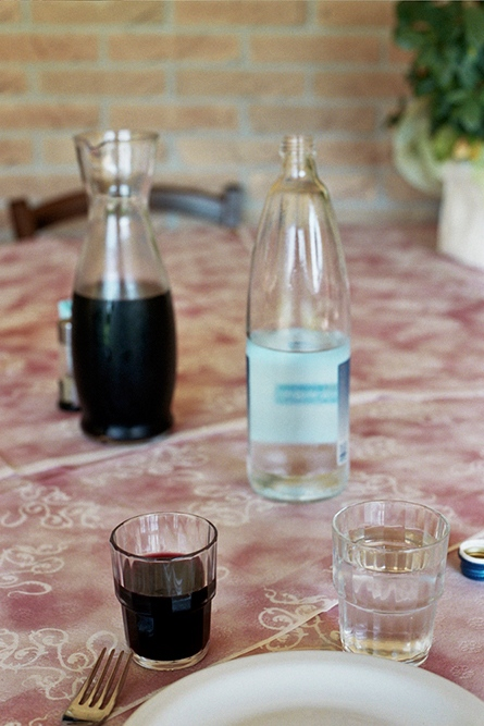 Wine and water at lunch, Padua, Italy