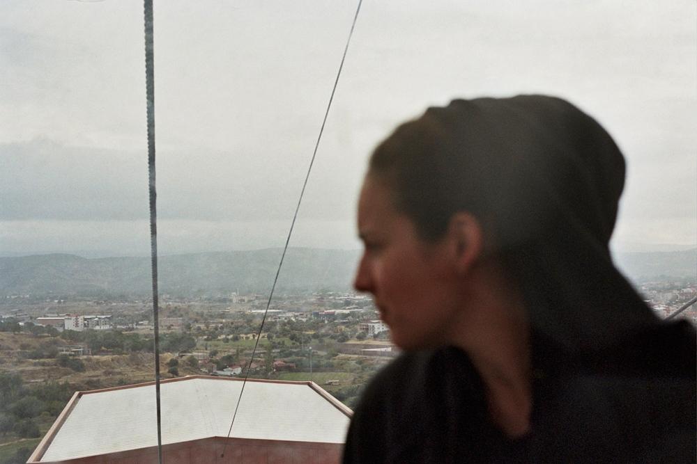Monique on the cable car, Bergema, Turkey