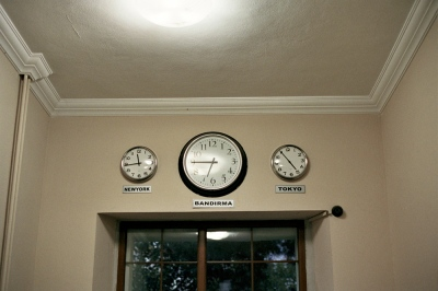 Clocks in the Ogretmenevi, Bandirma, Turkey