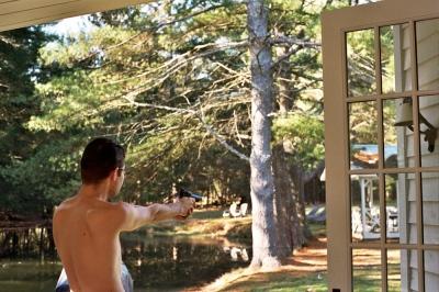 Denis shooting a beebee gun after breakfast, Upstate New York