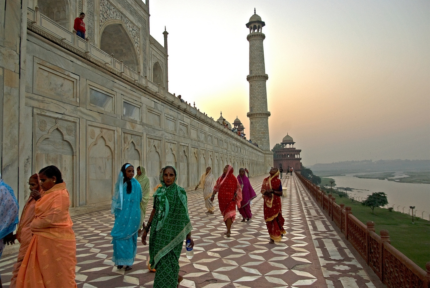 Pilgrims at Taj's Sunset