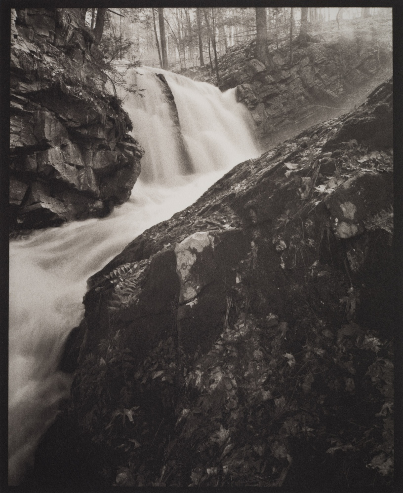 "Snook Kill Falls, Wilton, NY 4x5"" film; contact printed Kallitype sodium citrate developer toned with Palladium."