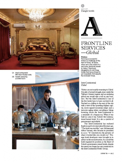 FRONTLINE SERVICES: DANGER HOTELS, Monocle Magazine (UK) - 2015