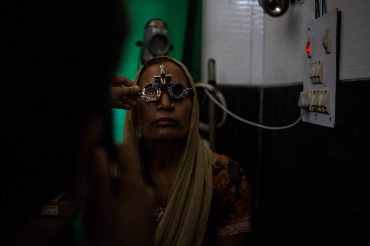 An Indian patient undergoes an eye examination at the Dr Shroff Charity Eye Hospital Vision Centre in Mustafabad in New Delhi on August 4, 2014.