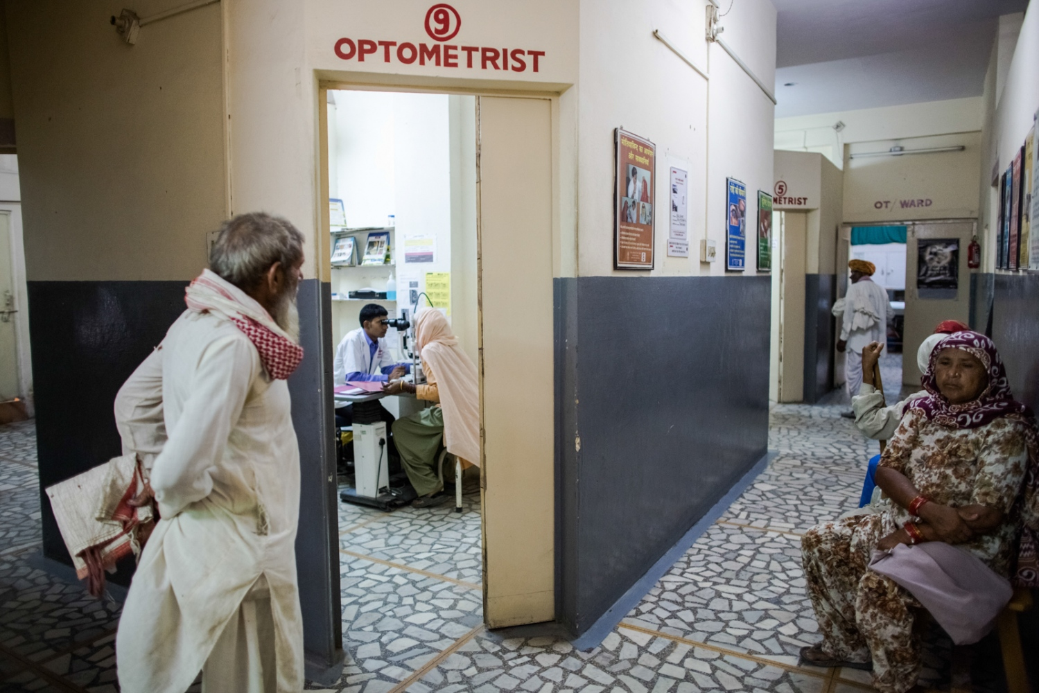 Indian patients wait to be seen at the Dr Shroff Charity Eye Hospital in Alwar in the state of Rajasthan on August 28, 2014.