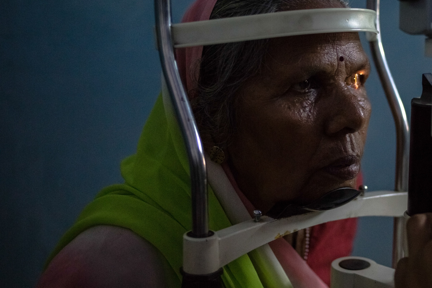 An Indian patient undergoes an eye examination at the Dr Shroff Charity Eye Hospital Vision Centre in Malakhera village, some 30 kms from Alwar in the state of Rajasthan on August 13, 2014.