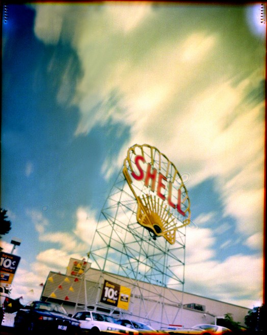 Art and Documentary Photography - Loading Cambridge shell sign and clouds.jpg