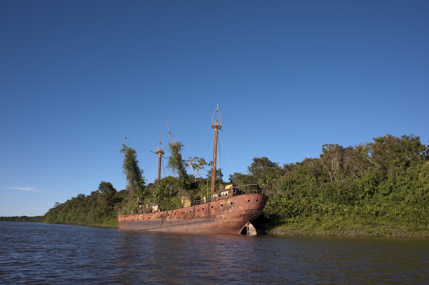 Beached light ship on the Suriname River en route from Jodensavanne