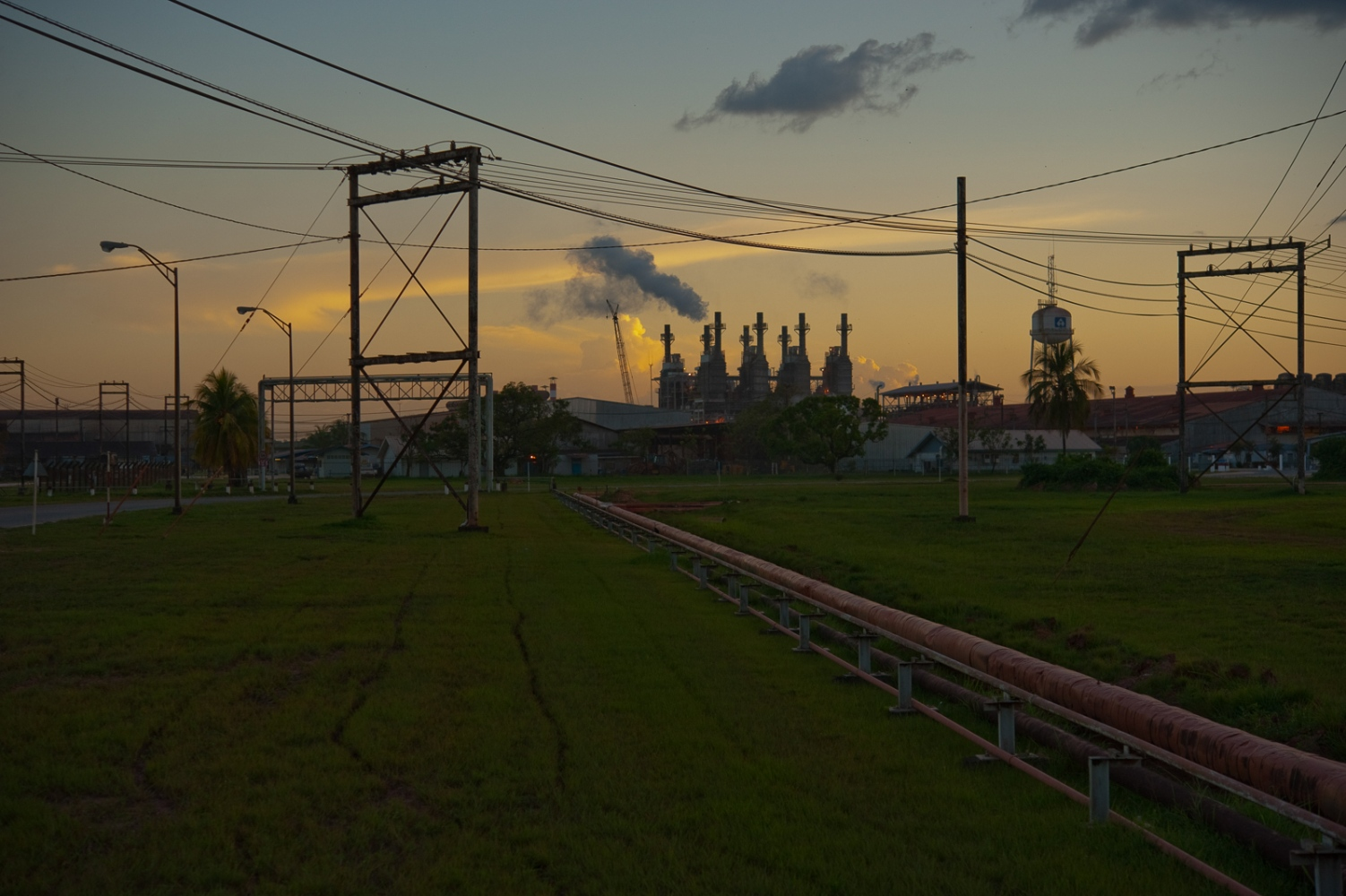 Electrical power lines and power staiion on the outskirts of Paramaribo