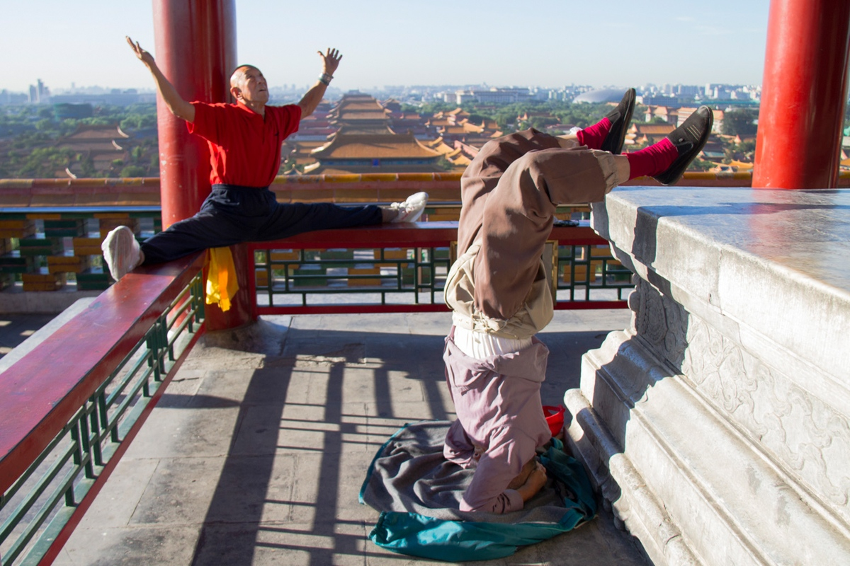 Two old-timers doing morning exercise in Jingshan Park, Beijing, September, 2012.