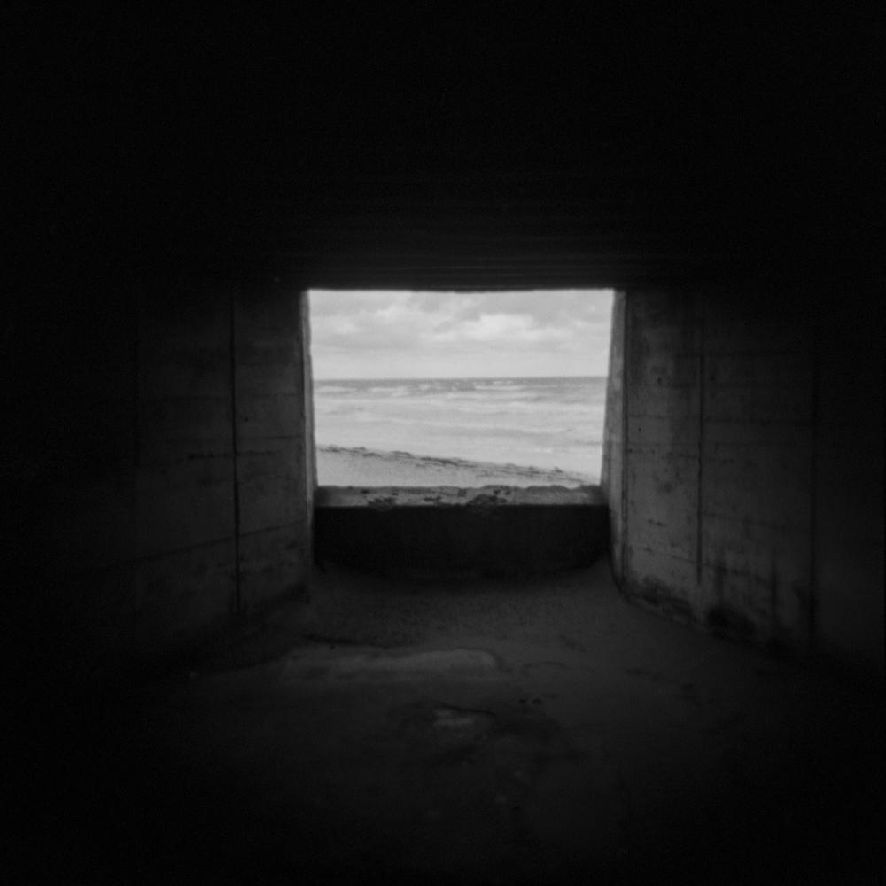 Inside bunker in Utah Beach, Normandy, France.