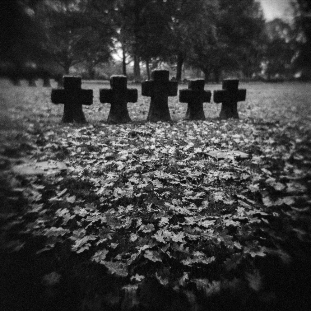 Crosses in the German cemetery of La Cambe, Normandy, France.
