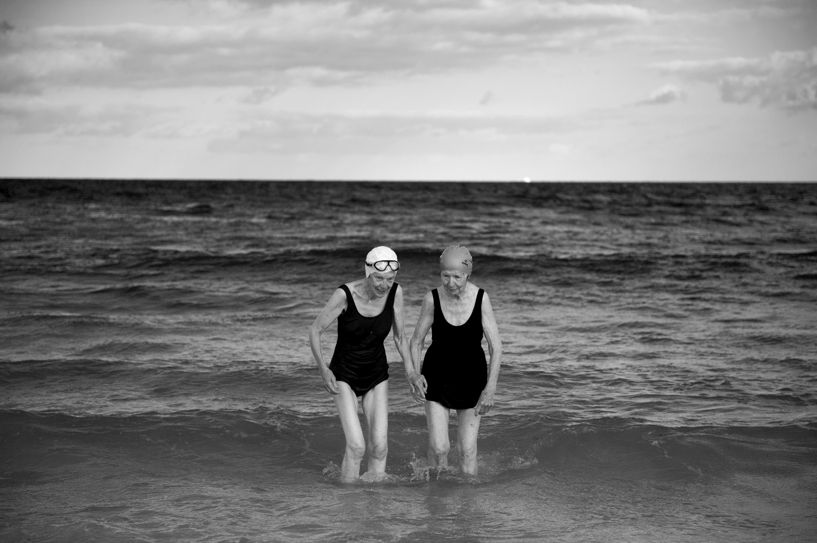 These two ladies are best friends and swim together every morning at Cottesloe beach in Perth, Australia. All the main cities in Australia are located along the coast lines. Their relationship to the beach is part of their culture and identity.