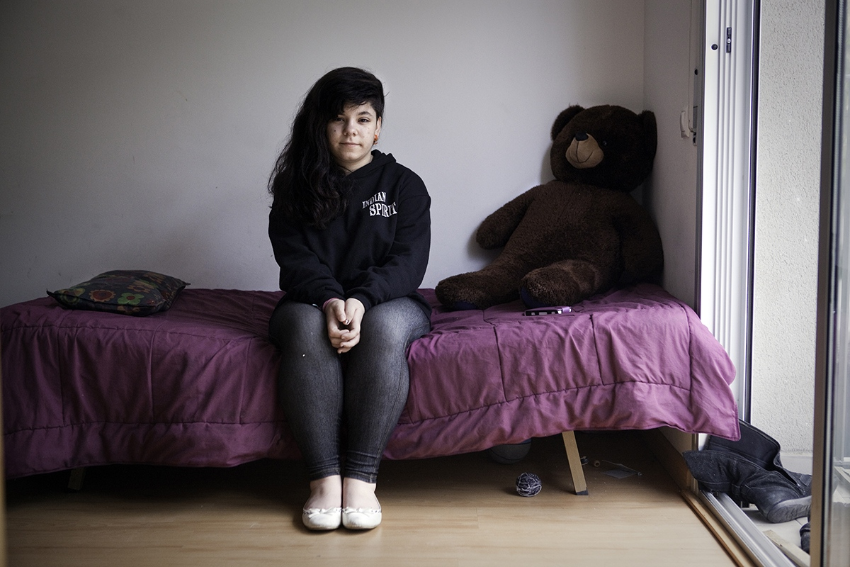 Alba Martín (15) lived with her mother, grandfather, and one brother in an occupied flat in Insula Utopia, a social project for homeless families that lasted from march 2013 till may 2013 in Nou Barris district (Barcelona).
