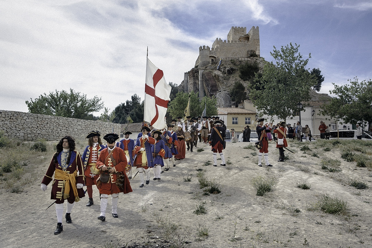 Miquelets de Catalunya, the reenactment association representing the Catalan army of Succession War, march during the reenactment of Almansa's 1017 battle, in Almansa (Spain).