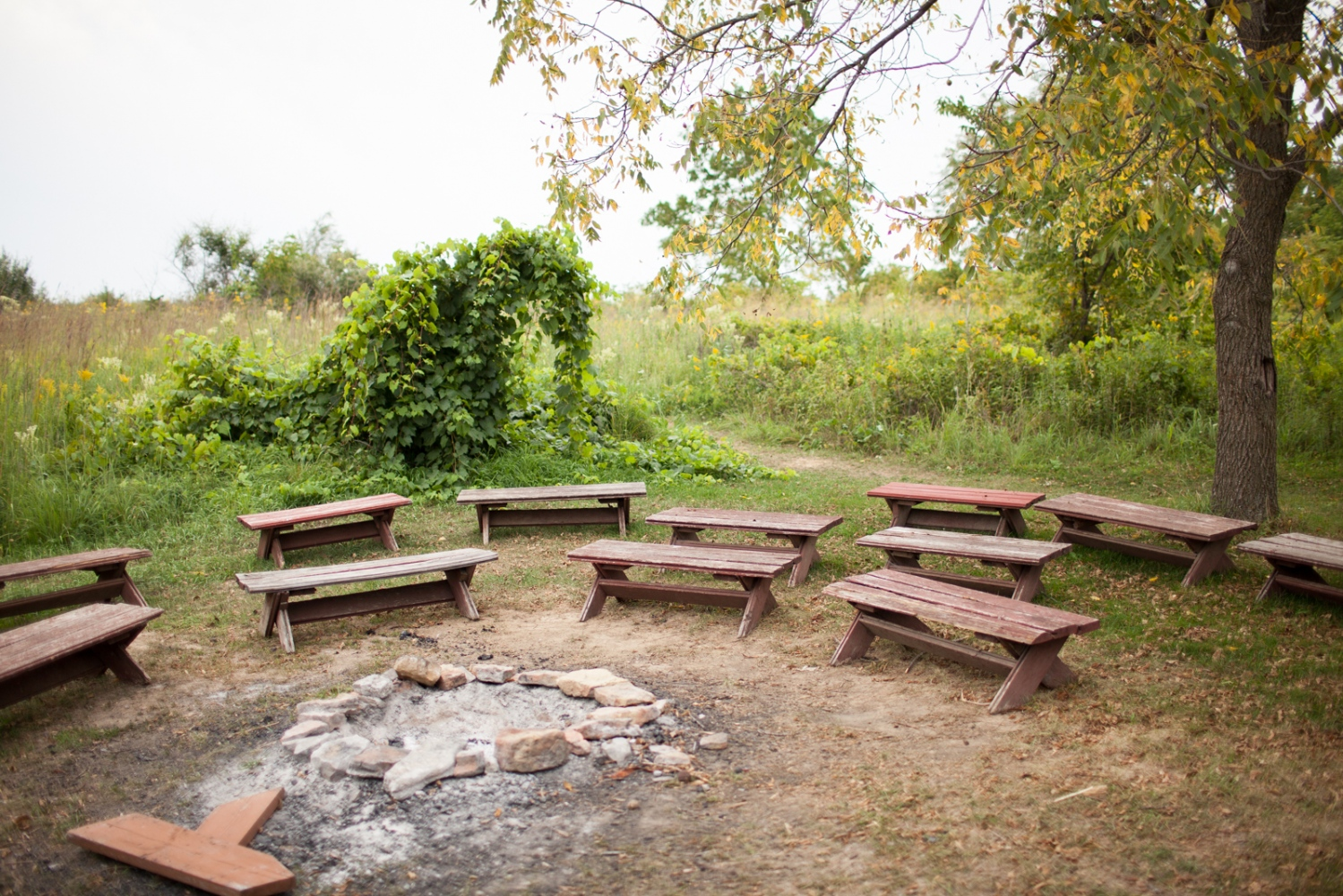 The bonfire cirlcle where children and their familes will participate in typical evening camp activities like singing and roasting marshmallows.