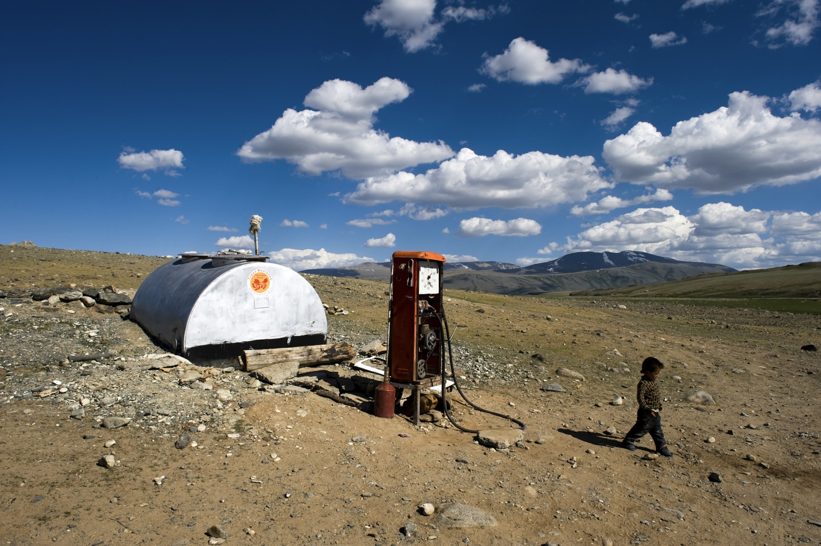 Mongolia. Petrol station in the Altai region of Western Mongolia.