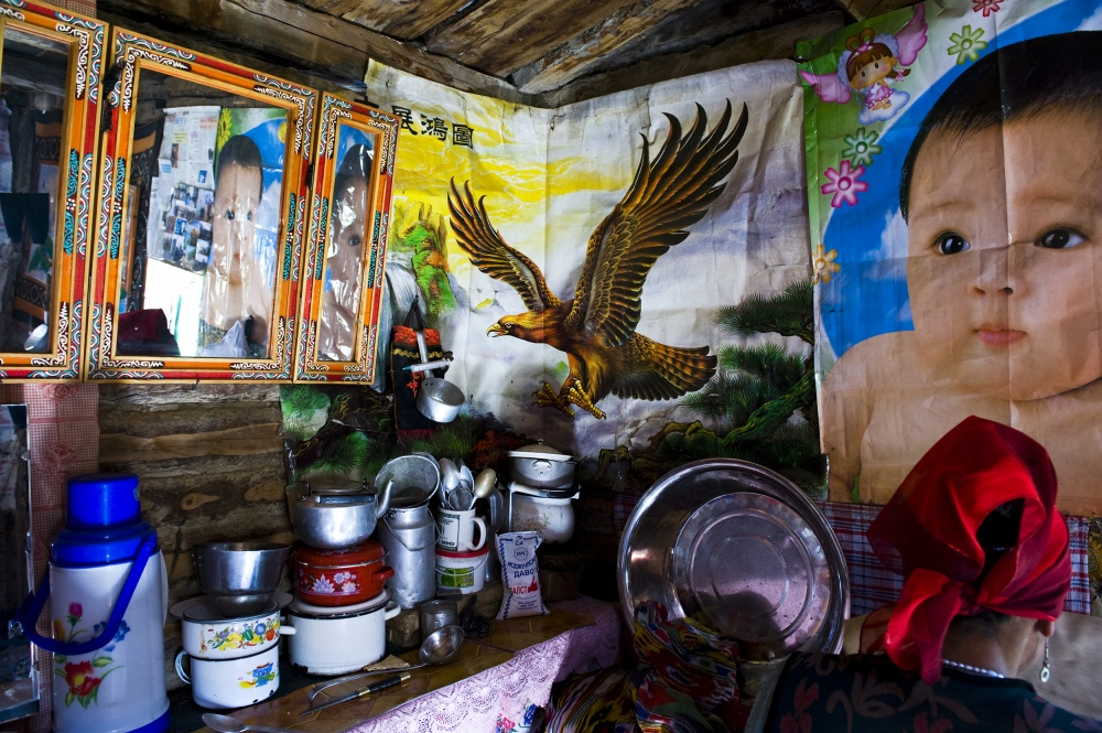 Mongolia. Kazakh kitchen in their winterhouse.