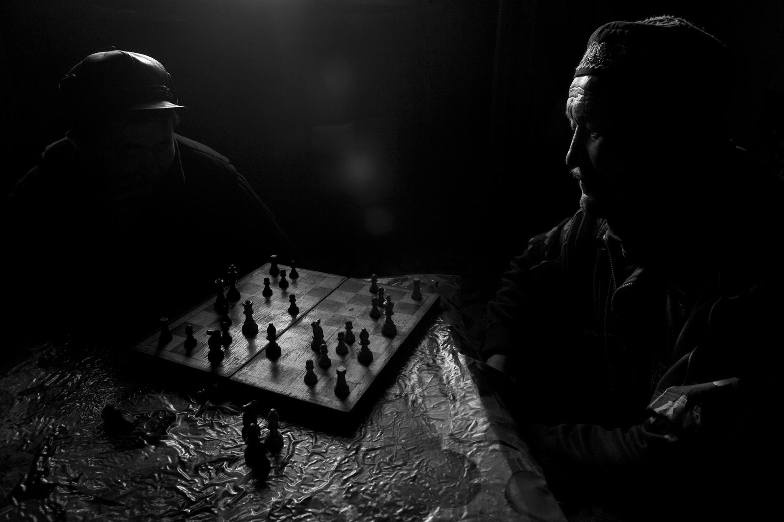 Mongolia. Kazakh nomads playing chess.