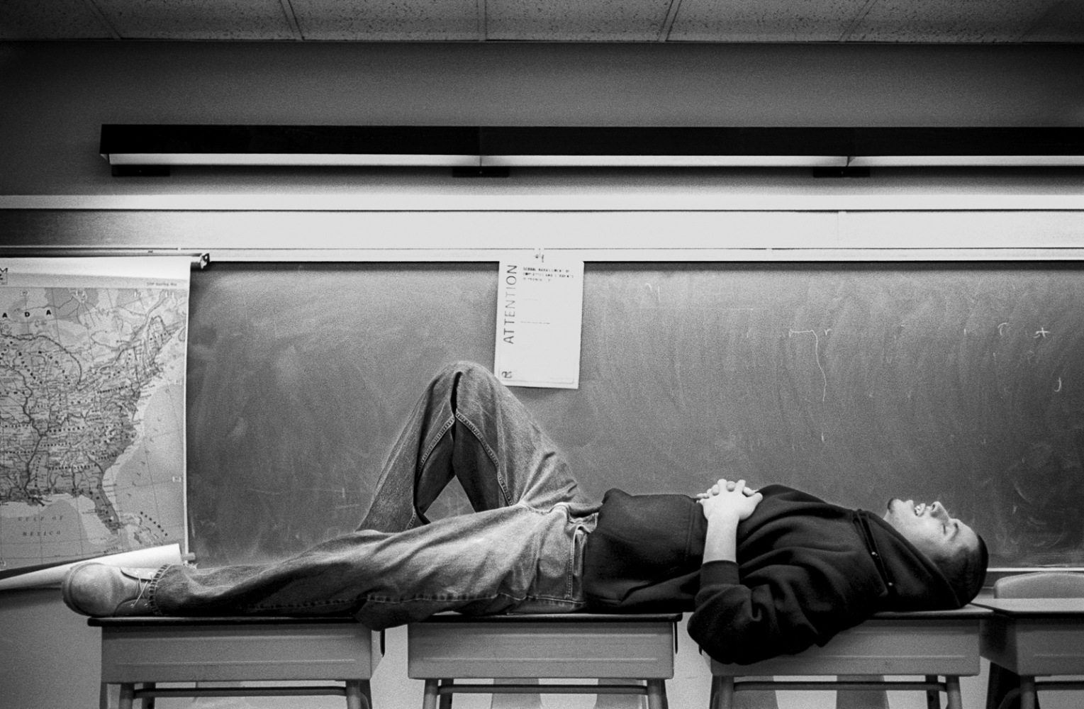 Jesus chills between classes. Second Chance doesn't have its own building and holds class in Cesar Chavez Elementary School after the younger kids are done for the day.