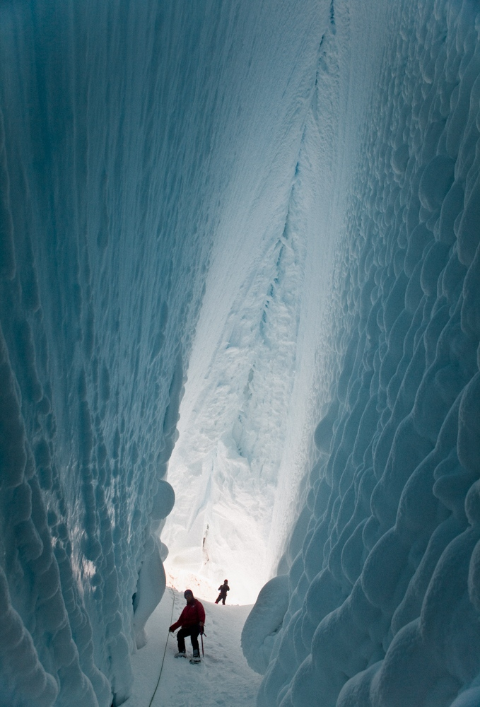 Dr. Siddoway's birthday provided an opportunity for the team to explore inside of a nearby crevasse.