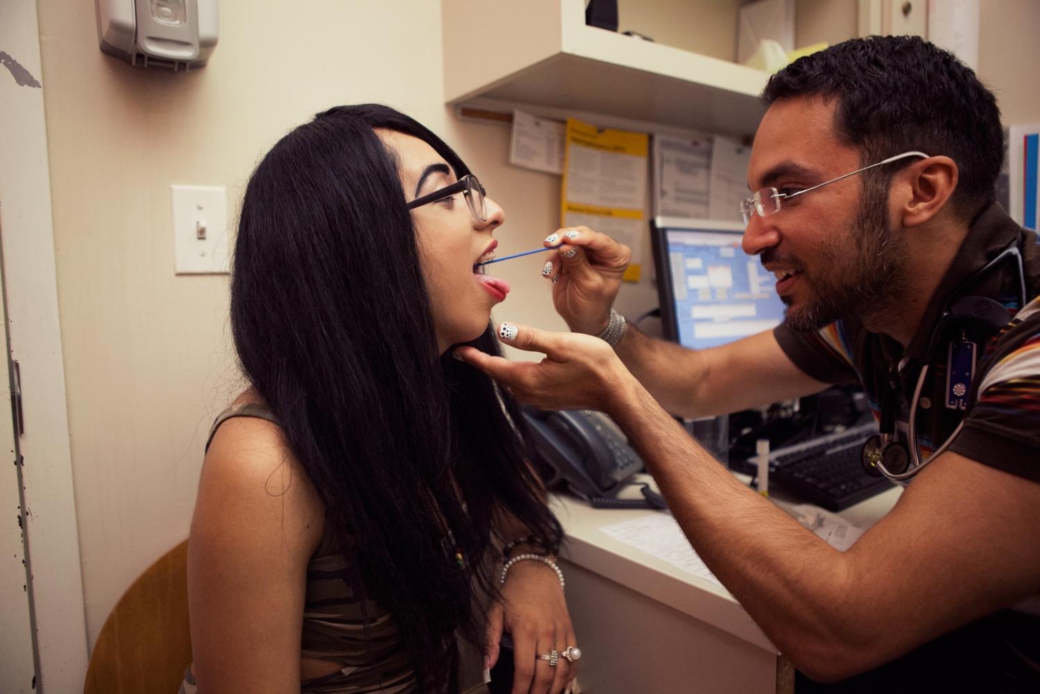 June and her healthcare provider Juancy at Callen Lorde.