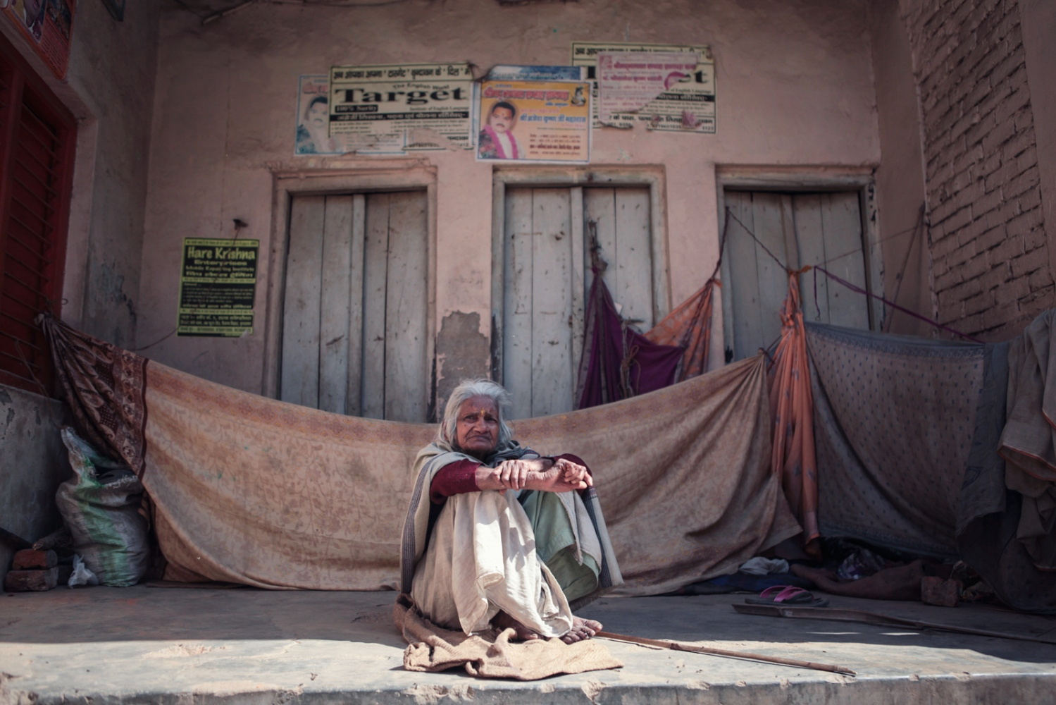 Mina is a widow from West Bengal, she sleeps in the narrowstreets of Vrindavan.