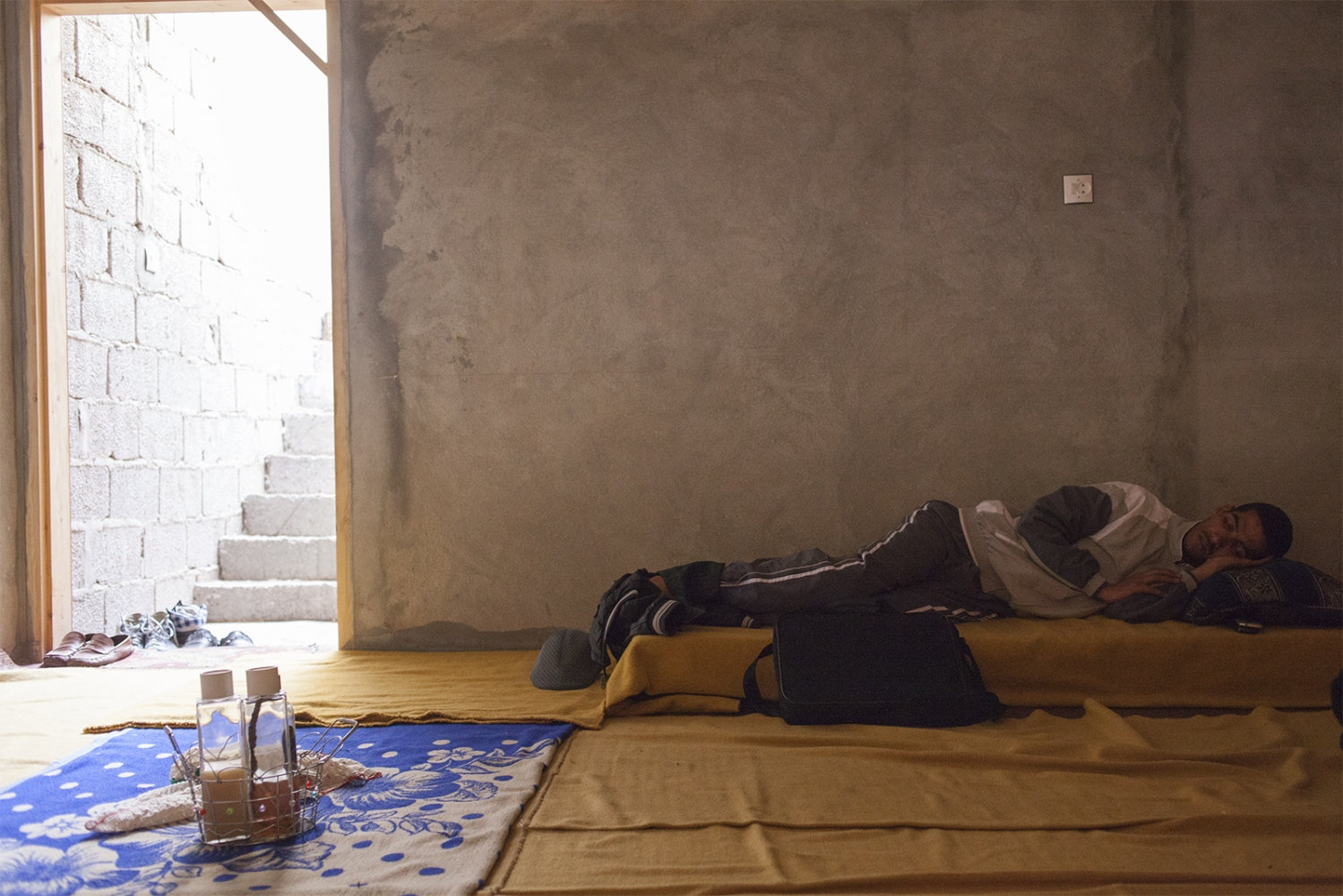 A sleeping activist. The Saharawi is often sleeping during the day, when there is people around and they feel safe.