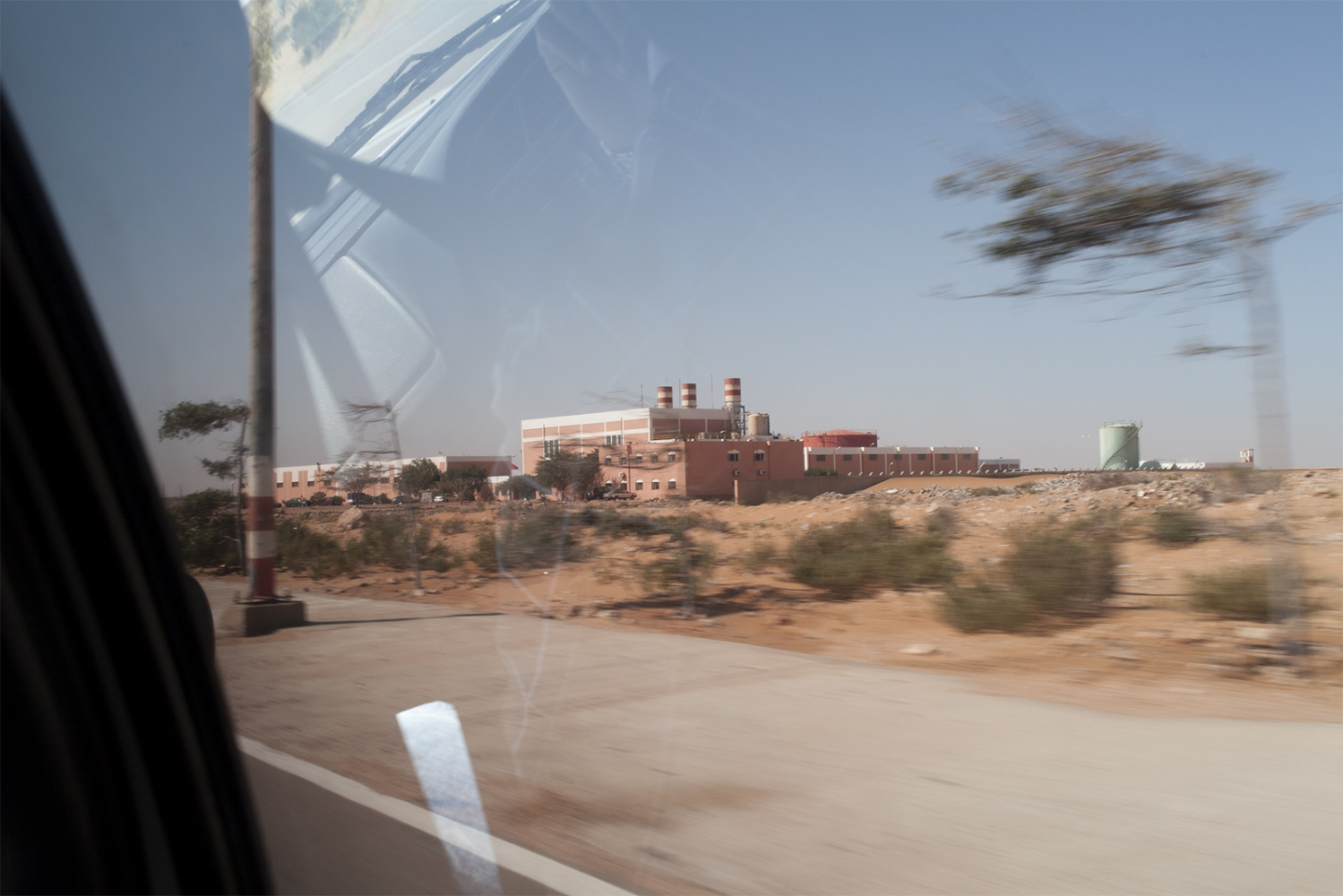 One of the phosphate factory's in the Sahara desert, these are run by the Moroccan authority and none of the workers are Saharawi.