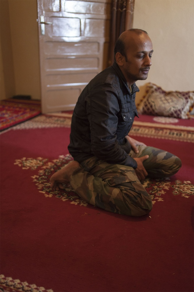A Saharawi listening to the stories of his friend's kidnapping.