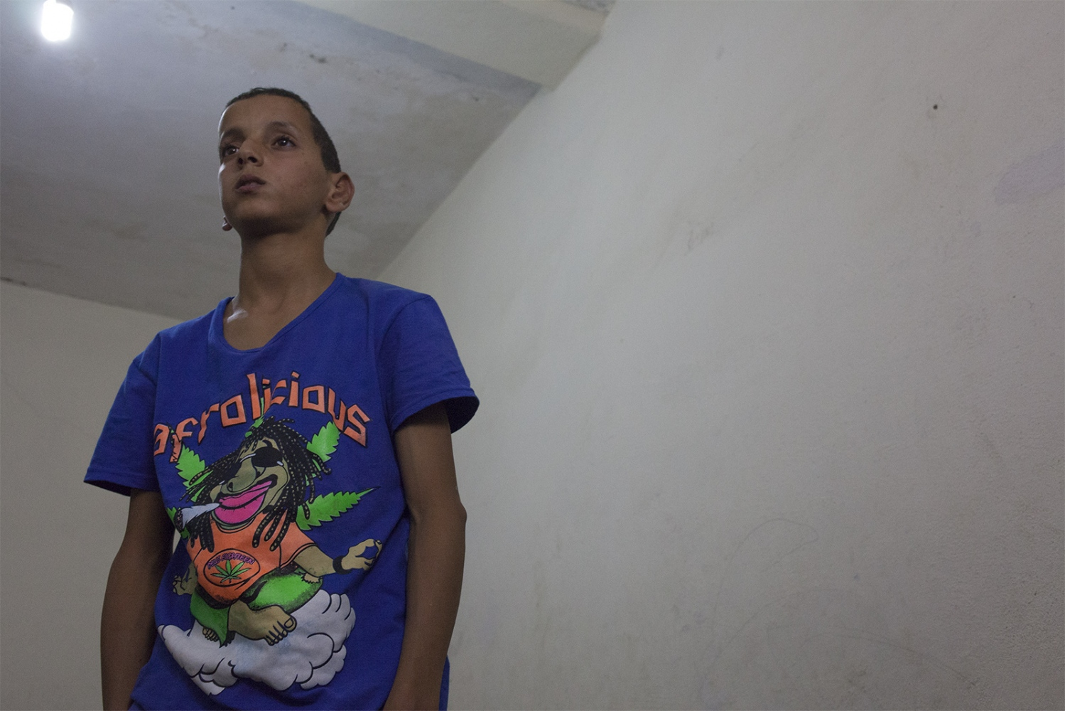 Achif (13). He was arrested after a demonstration and taken out in to the desert where he was beaten and threatened with rape by the Moroccan police. They tried to force him to be one of their informants, but he refused. He was thrown out of school the day after, and has no possibility to finish his education.