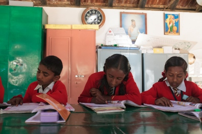 School children study at the school located on the Craigmore tea plantations in India's Nilgiri Hills. All children of tea workers are provided free schooling by the plantation.