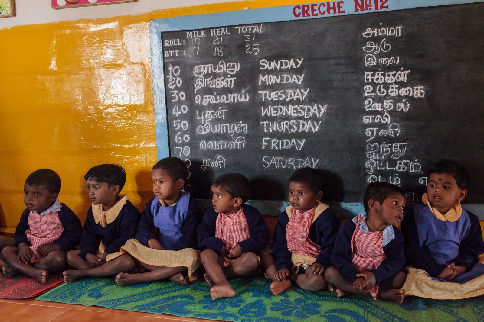 Children prepare for lunch at the nursery located on the Craigmore tea plantations in the Nilgiri Hills. All children of tea plantation workers, mostly from the Northeastern state of Jhaharkhand, are provided day care while their parents work the tea fields from 8 am to 6 pm.