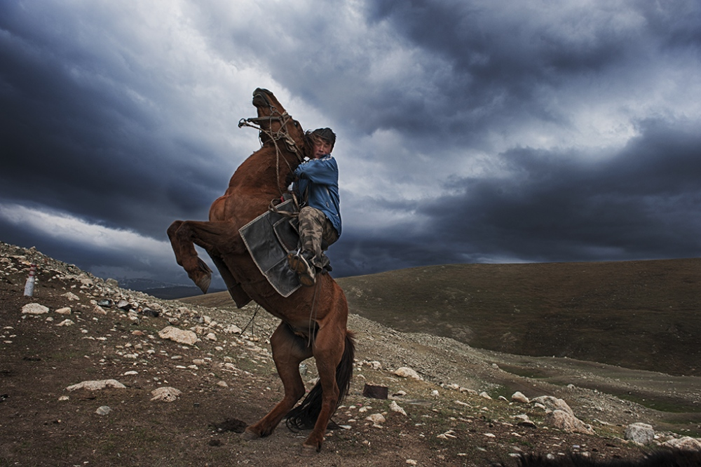 Photography image - Kazahk nomad in the Altai Mountains of Western Mongolia. Image from a long term documentary project about nomads in Mongolia.
