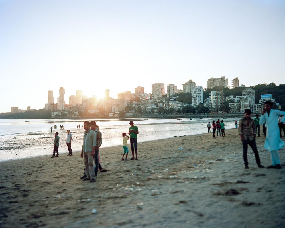 Sun down. Girgaum Chowpatty Beach. Mumbai.