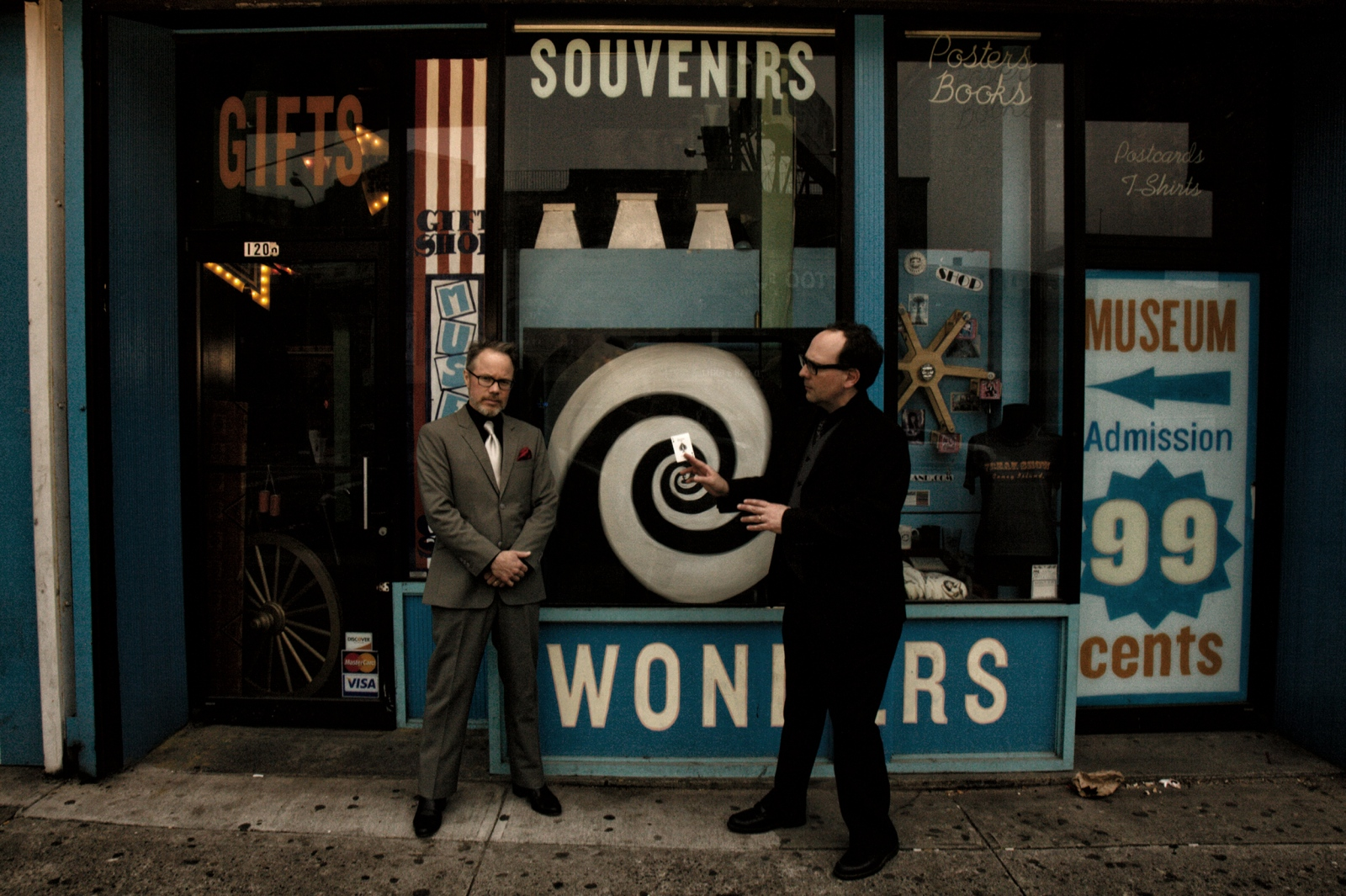 Les the Mentalist and Lord Whimsy on Surf Avenue, Coney Island USA before their lecture on Fate and Chance in the context of culture and folklore, during which they also performed traditional mentalist routines.
