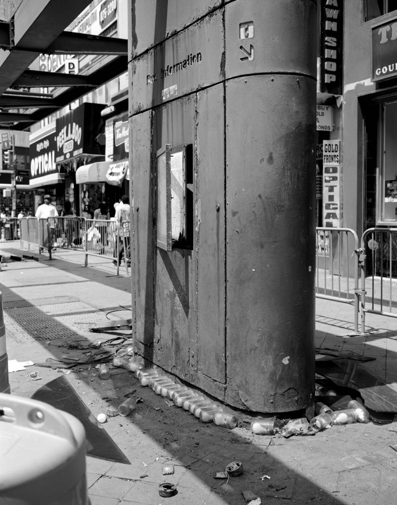 Fulton Street Mall b us stop shelters being dismantled, July 2009