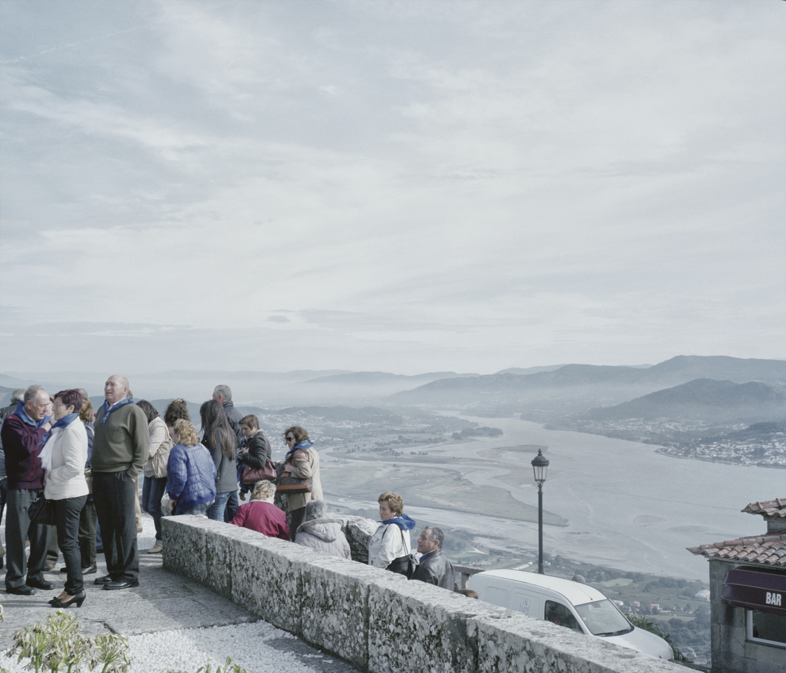 Spain, A Gurada. Tourists visit a catholic sanctuary on the Spanish side of the Minho river.
