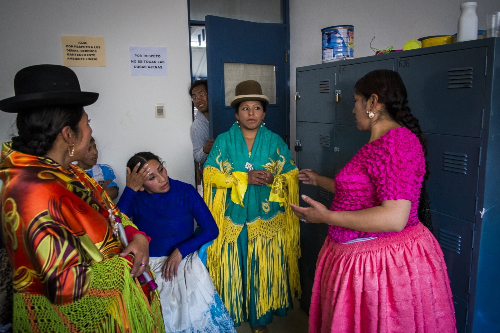 Cholitas meet up on the dressing room before the match so they can coordinate the order of fights and some of the sequences. The Wrestling Cholitas fight every Sunday on the 12th October Complex in El Alto. At times they do exhibition fights in other parts of La Paz and Bolivia to promote the sport.