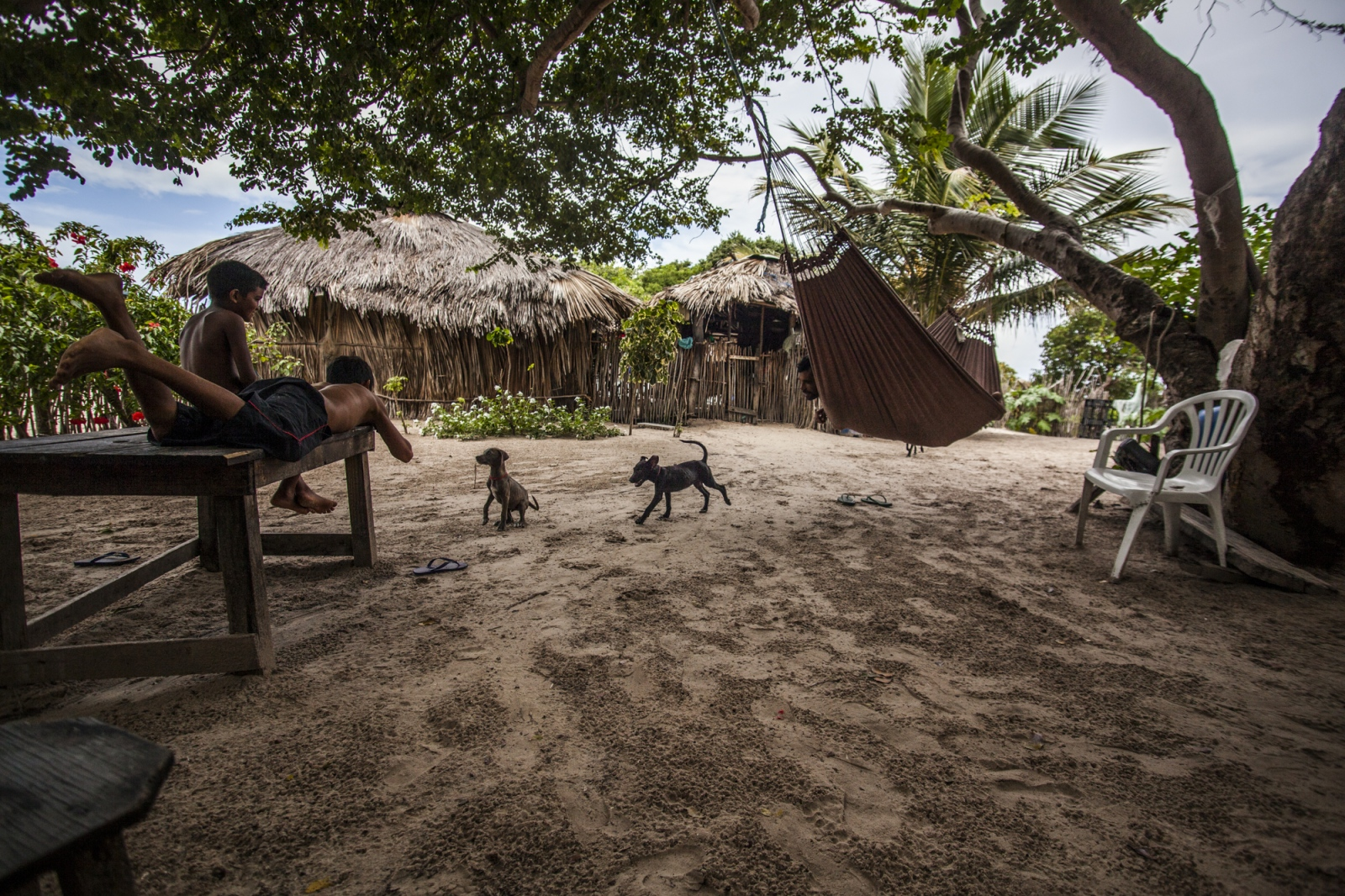 Aldemir Brito, 39, relaxes on the hammock while his son and nephew play with the dogs in the backyard of their house. During the afternoons the children are free to walk around the oasis and the dunes and adults tend to visit each other's houses and socialize.