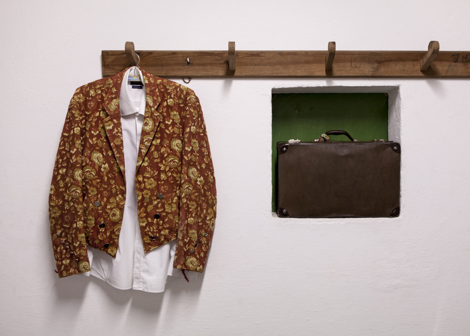 The 'jaqueta' or  forcado's jacket in the dressing room before the bullfight. The jacket distinguishes each group from a another because of the different fabrics and patterns. It is also extremely important for the forcados since it passes from generation to generation.