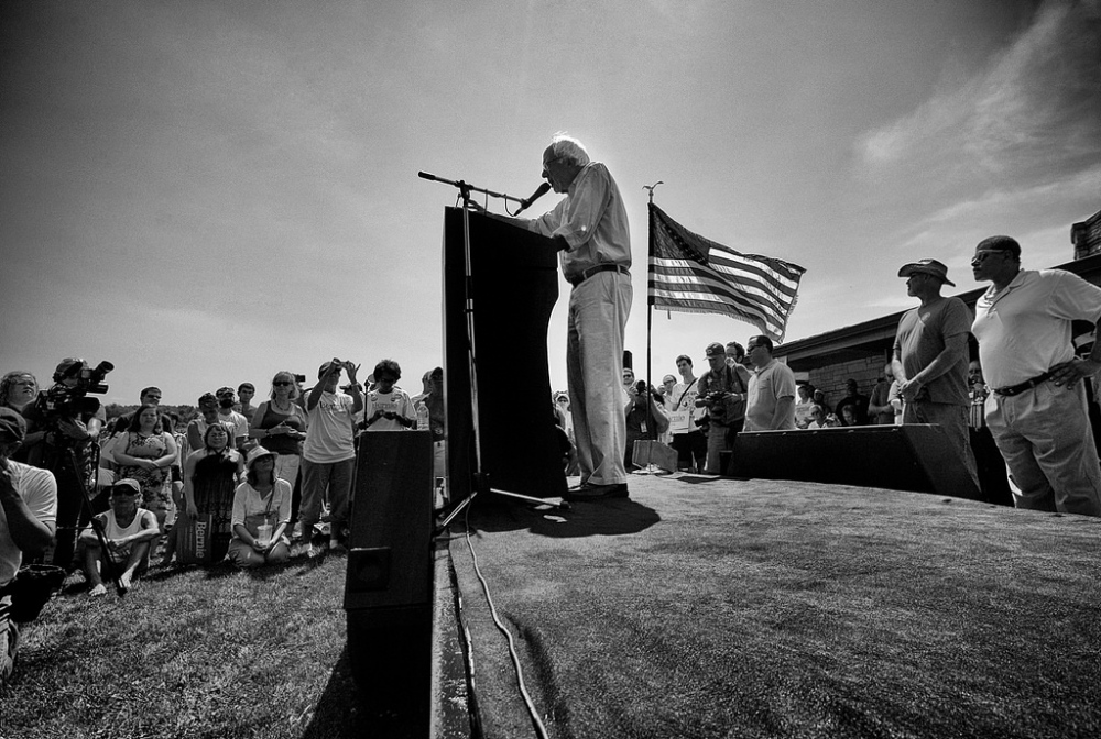 Photography image - Bernie Sanders delivering his speech to folks in Eldridge, Iowa.